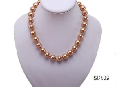14mm coffee round seashell pearl necklace SP169 Image 5