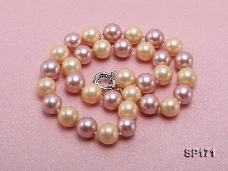 12mm yellow and lavender round the seashell pearl necklace big Image 3