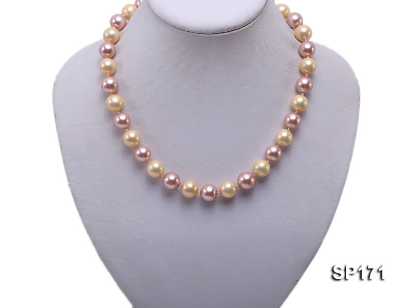 12mm yellow and lavender round the seashell pearl necklace big Image 5
