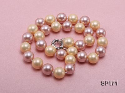12mm yellow and lavender round the seashell pearl necklace SP171 Image 3
