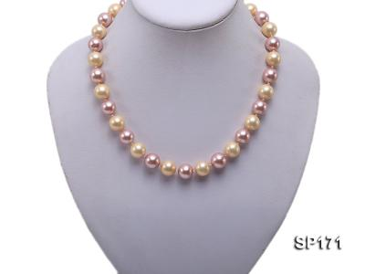 12mm yellow and lavender round the seashell pearl necklace SP171 Image 5