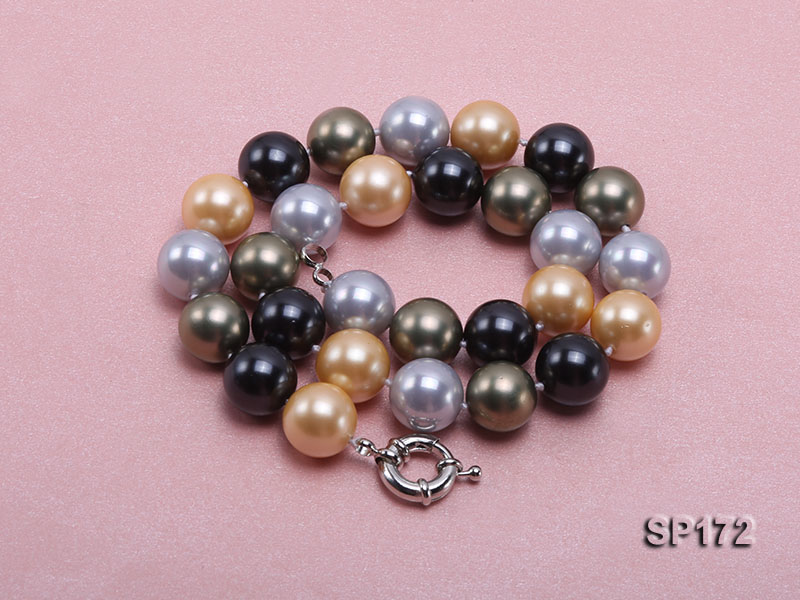 14mm colorful round seashell pearl necklace big Image 3