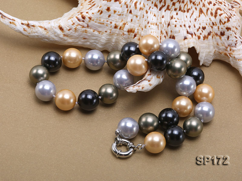 14mm colorful round seashell pearl necklace big Image 4