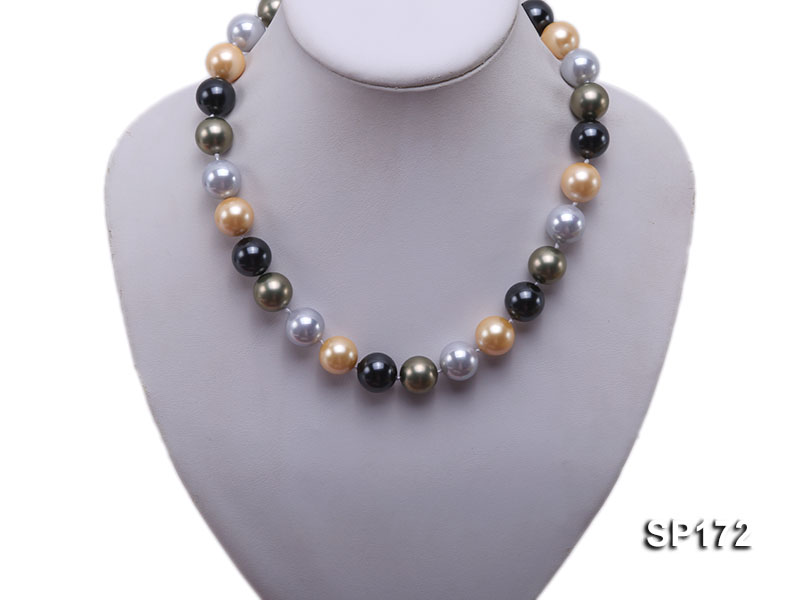 14mm colorful round seashell pearl necklace big Image 5