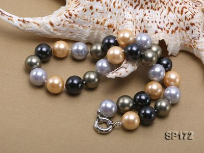 14mm colorful round seashell pearl necklace SP172 Image 4