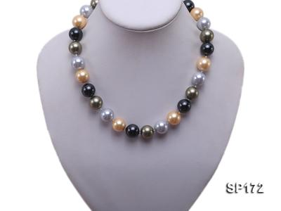 14mm colorful round seashell pearl necklace SP172 Image 5