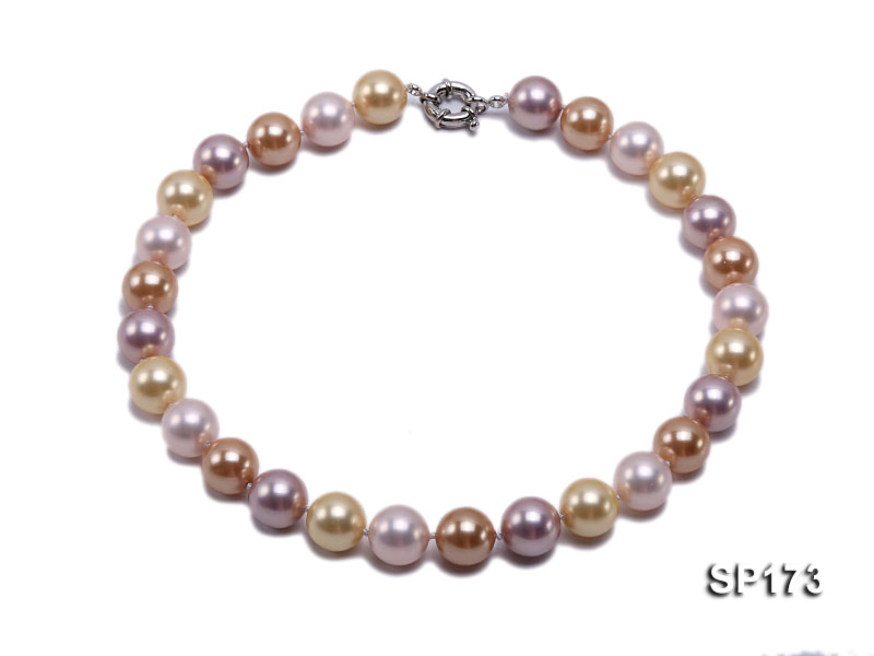 14mm colorful round seashell pearl necklace big Image 1