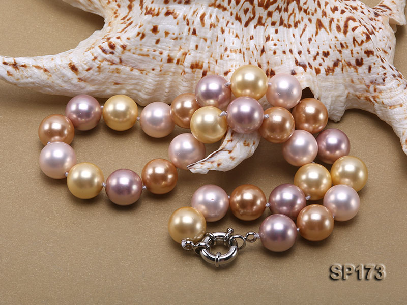 14mm colorful round seashell pearl necklace big Image 2