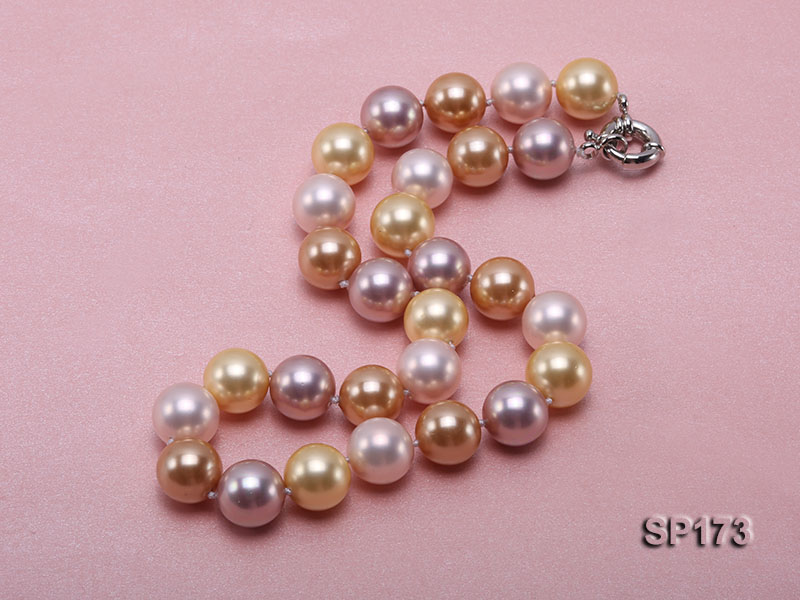14mm colorful round seashell pearl necklace big Image 8