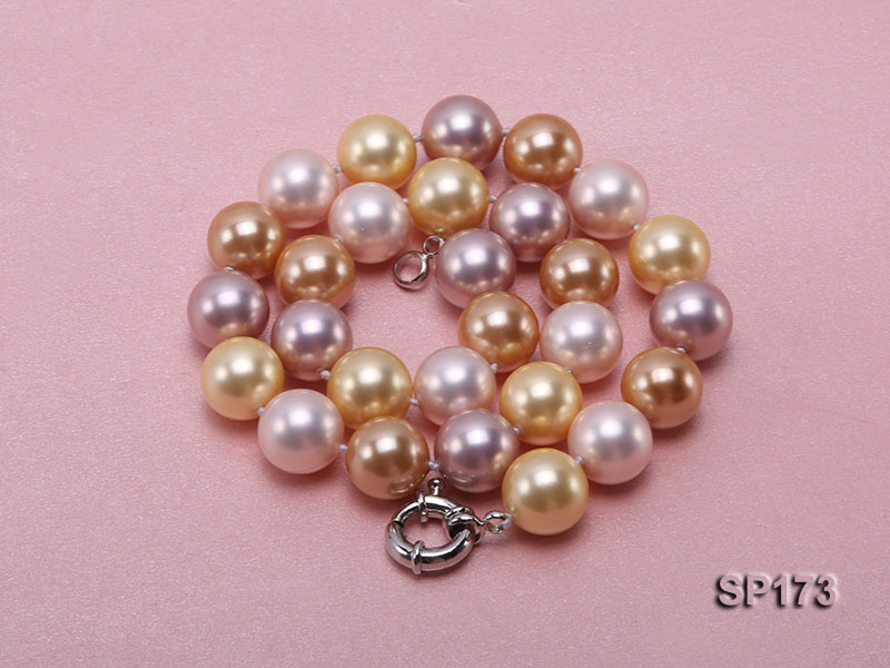 14mm colorful round seashell pearl necklace big Image 9