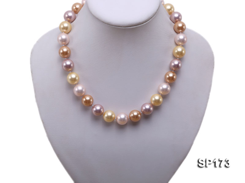 14mm colorful round seashell pearl necklace big Image 10
