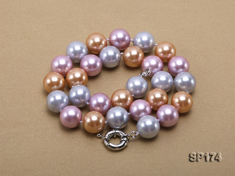 14mm multicolor round seashell pearl necklace big Image 3