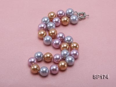 14mm multicolor round seashell pearl necklace SP174 Image 2