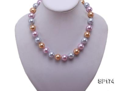 14mm multicolor round seashell pearl necklace SP174 Image 5
