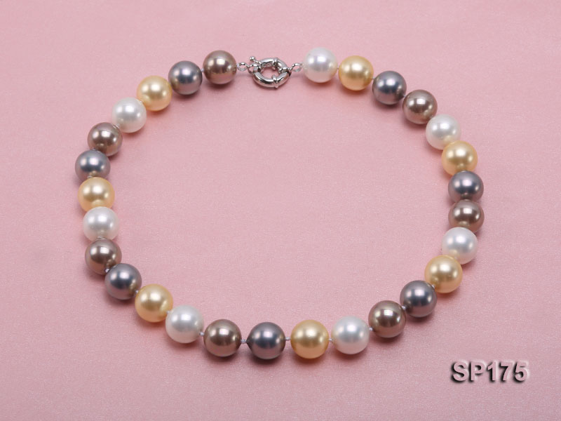 14mm multicolor round seashell pearl necklace big Image 1