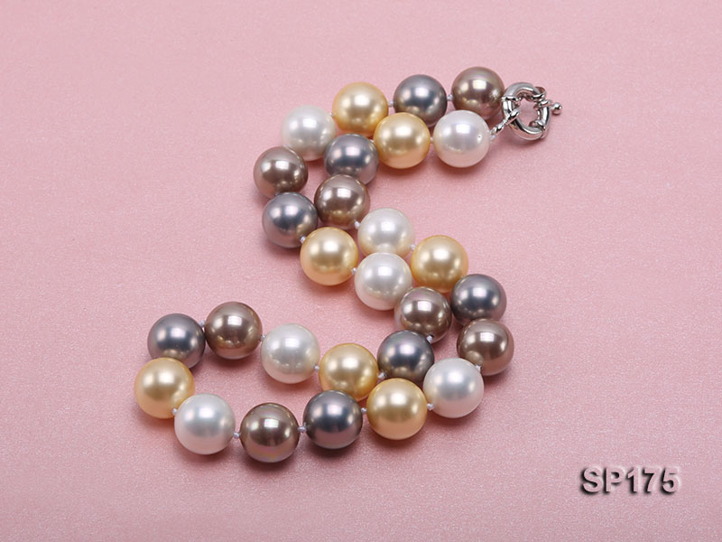 14mm multicolor round seashell pearl necklace big Image 2