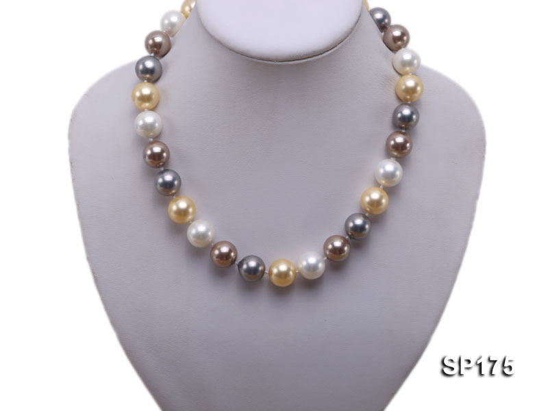 14mm multicolor round seashell pearl necklace big Image 5