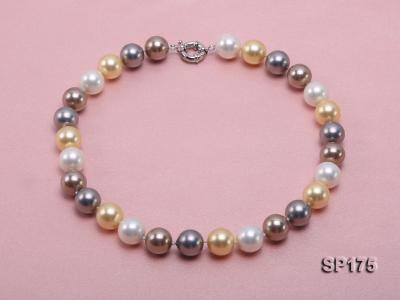 14mm multicolor round seashell pearl necklace SP175 Image 1