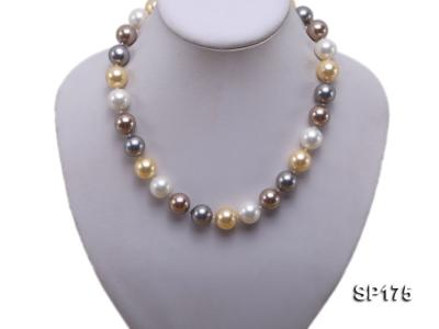 14mm multicolor round seashell pearl necklace SP175 Image 5