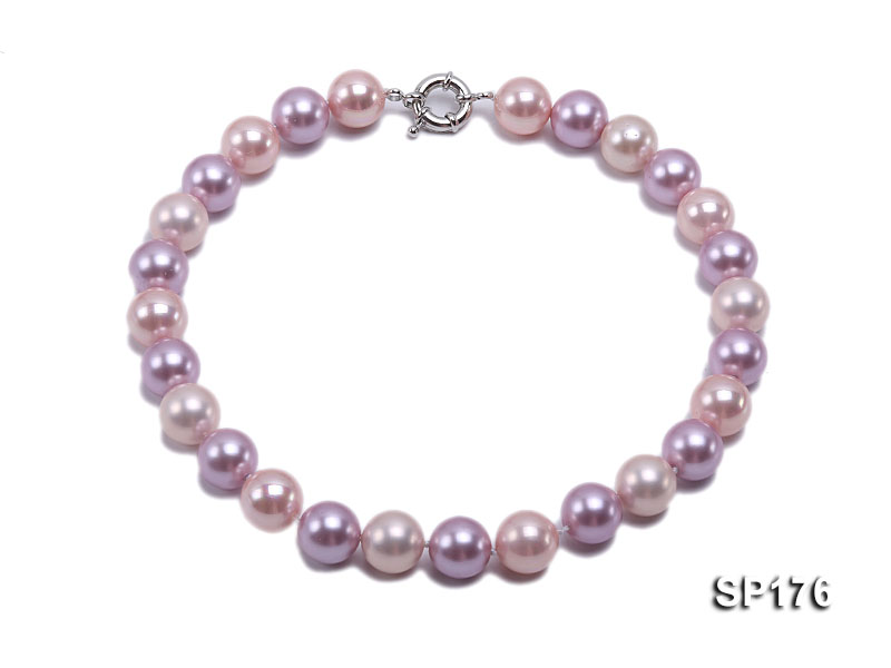 14mm pink and purple round seashell pearl necklace big Image 1