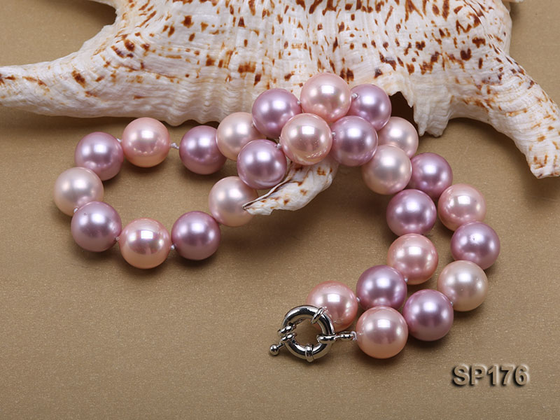 14mm pink and purple round seashell pearl necklace big Image 2