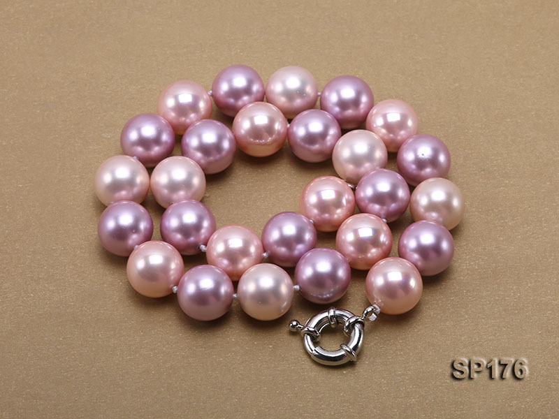 14mm pink and purple round seashell pearl necklace big Image 3