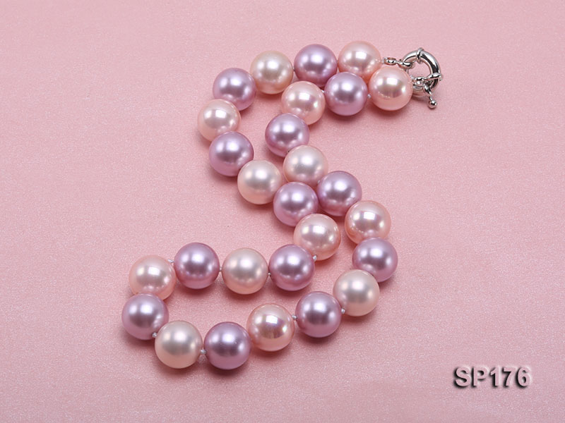 14mm pink and purple round seashell pearl necklace big Image 4