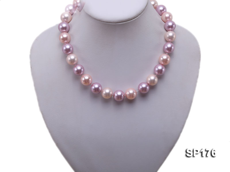 14mm pink and purple round seashell pearl necklace big Image 5
