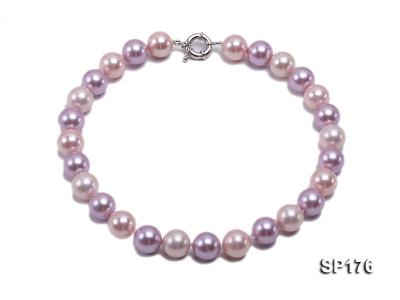 14mm pink and purple round seashell pearl necklace SP176 Image 1