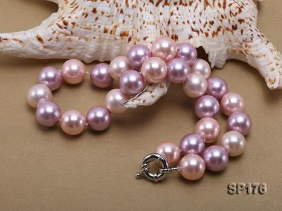 14mm pink and purple round seashell pearl necklace SP176 Image 2