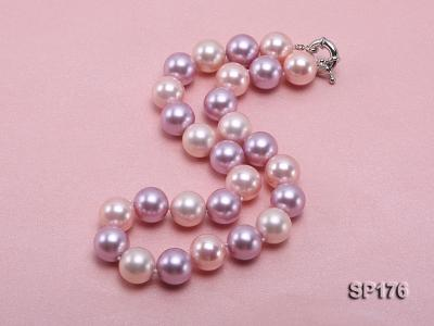 14mm pink and purple round seashell pearl necklace SP176 Image 4