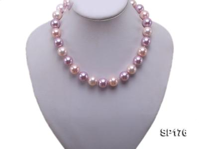 14mm pink and purple round seashell pearl necklace SP176 Image 5