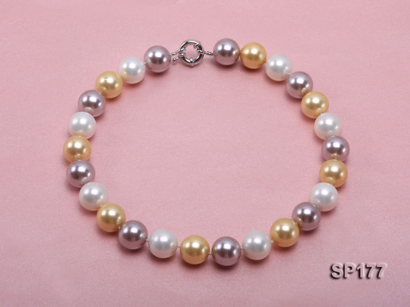 16mm multicolor round seashell pearl necklace big Image 1