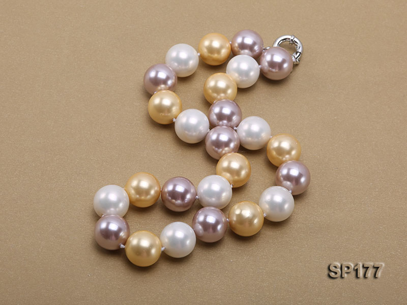 16mm multicolor round seashell pearl necklace big Image 4