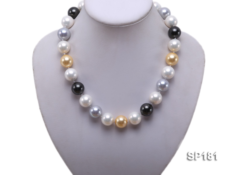 16mm multicolor round seashell pearl necklace big Image 5