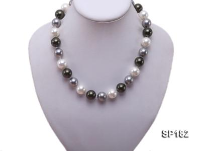 14mm multicolor round seashell pearl necklace SP182 Image 5