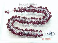 4mm Round Garnet Beads Bracelet with sterling silver chain GH160
