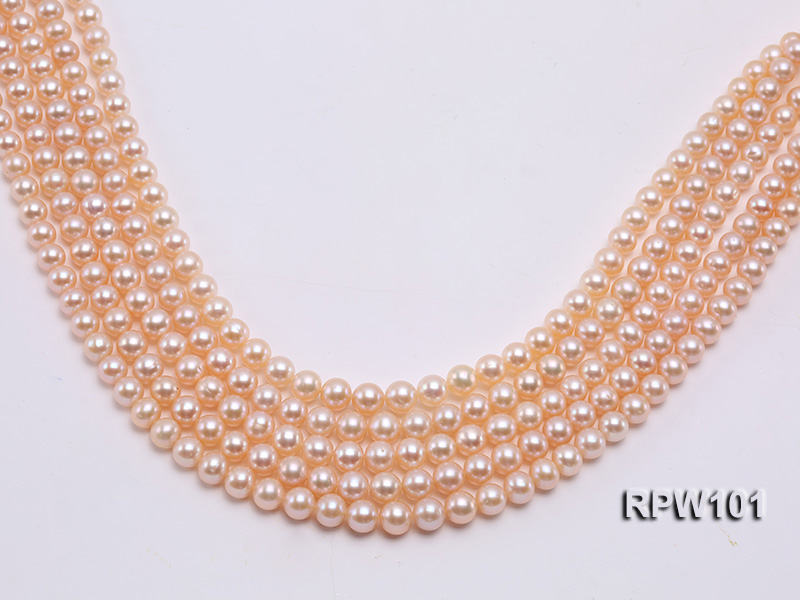 Wholesale AAA-grade  8-9mm Pink Round Freshwater Pearl String big Image 1