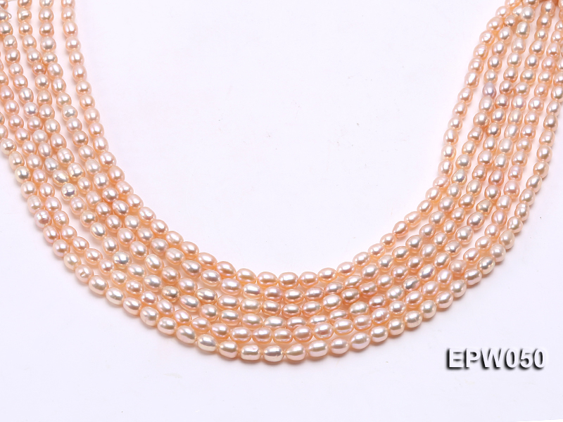 Wholesale 5x6.5mm Pink Rice-shaped Freshwater Pearl String big Image 2