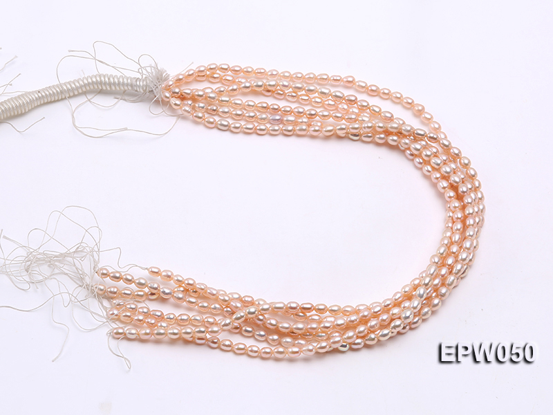 Wholesale 5x6.5mm Pink Rice-shaped Freshwater Pearl String big Image 4