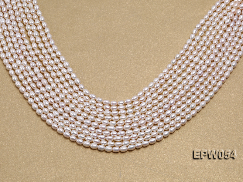 Wholesale 4.5x6.5mm Classic White Rice-shaped Freshwater Pearl String big Image 1