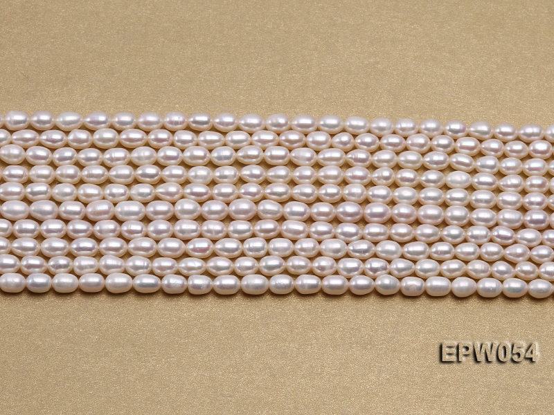 Wholesale 4.5x6.5mm Classic White Rice-shaped Freshwater Pearl String big Image 2
