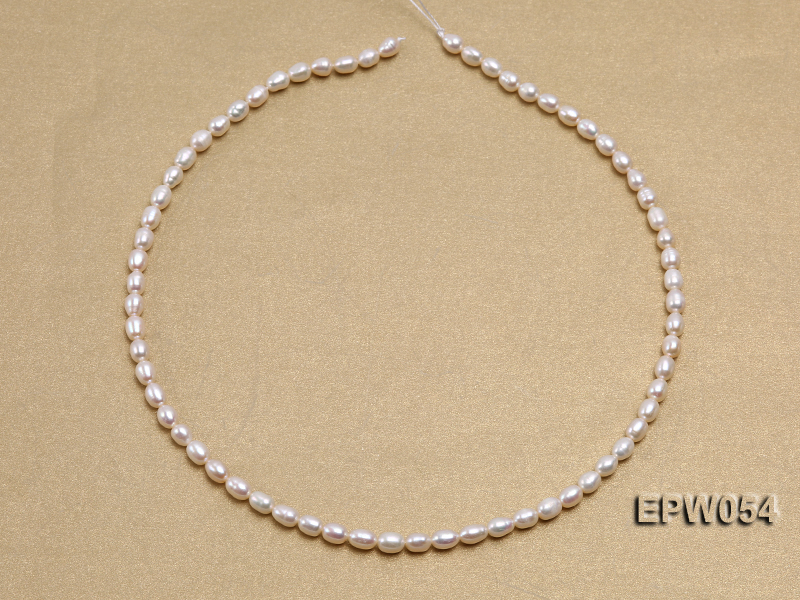 Wholesale 4.5x6.5mm Classic White Rice-shaped Freshwater Pearl String big Image 3
