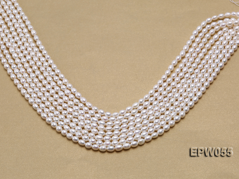Wholesale 5.5x7.5mm Classic White Rice-shaped Freshwater Pearl String big Image 2