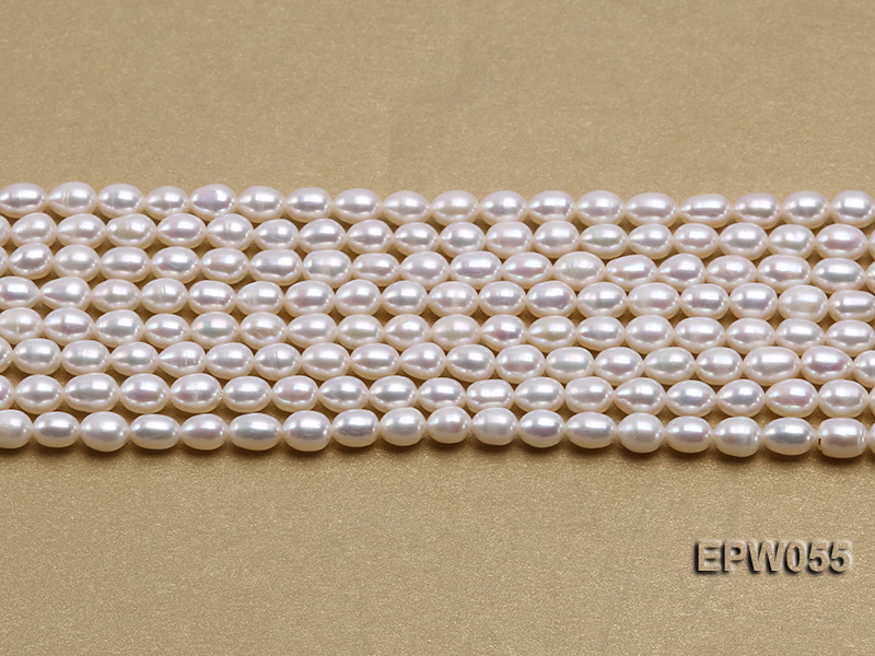 Wholesale 5.5x7.5mm Classic White Rice-shaped Freshwater Pearl String big Image 1