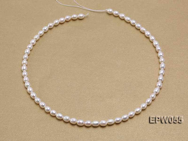 Wholesale 5.5x7.5mm Classic White Rice-shaped Freshwater Pearl String big Image 3