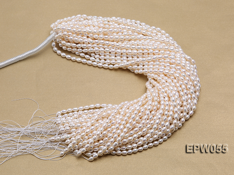 Wholesale 5.5x7.5mm Classic White Rice-shaped Freshwater Pearl String big Image 4