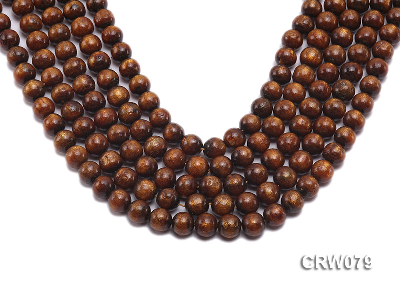 Wholesale 10mm Round Golden Coral Beads Loose String big Image 1