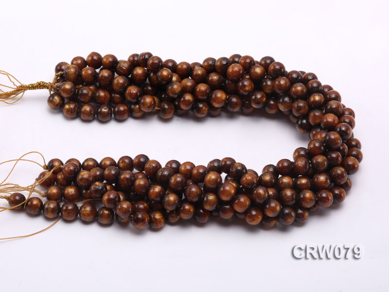 Wholesale 10mm Round Golden Coral Beads Loose String big Image 3