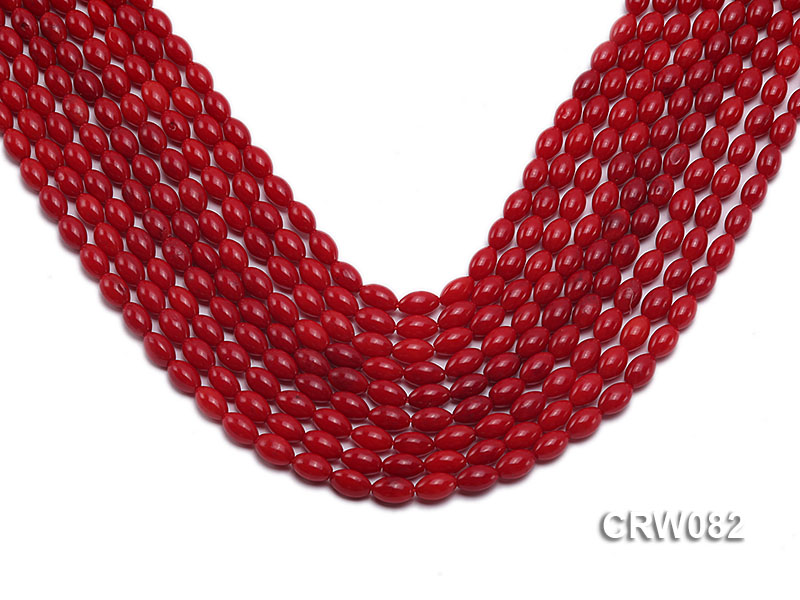 Wholesale 4.5x8 mm Rice-shaped Red Coral Beads Loose String big Image 1